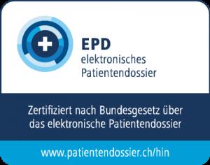 Offizielles Logo, das HIN AG als zertifizierten Herausgeber von elektronischen Identitäten für das elektronische Patientendossier nach Bundesgesetz über das elektronische Patientendossier EPDG ausweist