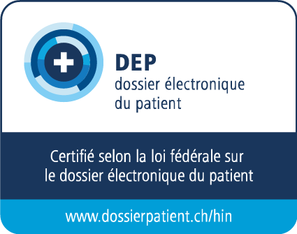 Logo officiel qui identifie HIN AG comme éditeur certifié d'identités électroniques pour le dossier électronique du patient conformément à la loi fédérale sur le dossier électronique du patient